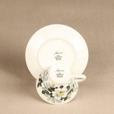 Arabia Juhannus kahvikuppi ja lautaset, suunnittelija Raija Uosikkinen, kukkakoriste, serikuva kuva 3