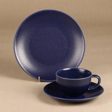 Arabia 24 h coffee cup, saucer and plate, blue, Heikki Orvola