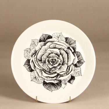 Arabia Musta Ruusu lautanen, musta, suunnittelija Esteri Tomula, serikuva