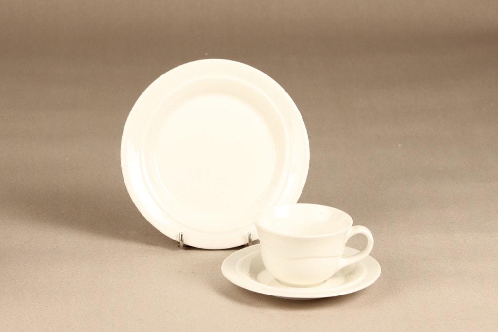 Arabia Tuuli coffee cup, saucer and plate, white, Heljä Liukko-Sundström
