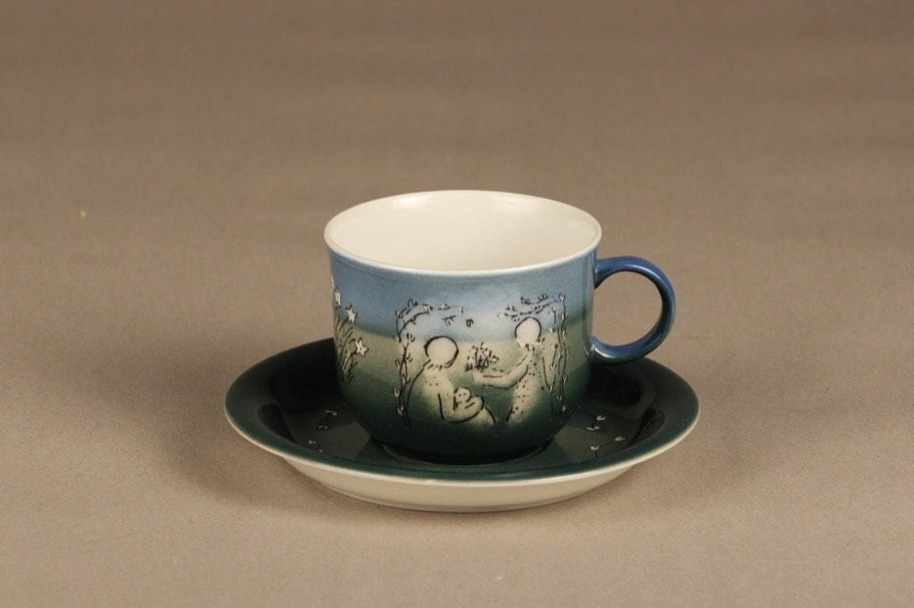 Arabia Äidinkuppi 1977 tea cup, hand-painted, Heljä Liukko-Sundström