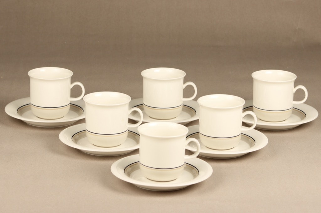 Arabia Seita Arctica kahvikupit, raitakoriste, 6 kpl, suunnittelija , raitakoriste
