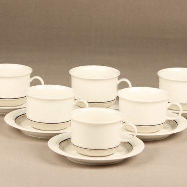 Arabia Seita Arctica teekupit, raitakoriste, 6 kpl, suunnittelija , raitakoriste