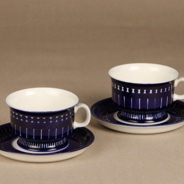 Arabia Valencia teekupit, käsinmaalattu, 2 kpl, suunnittelija Ulla Procope, käsinmaalattu, signeerattu