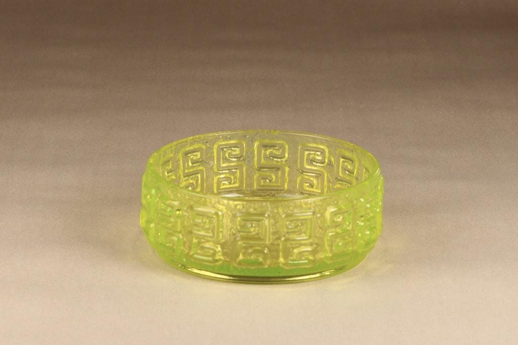 Riihimäen lasi Taalari bowl, yellow, designer Tamara Aladin