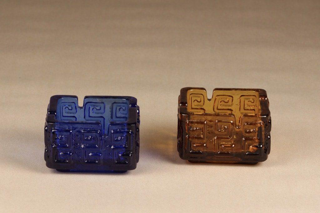 Riihimäen lasi Taalari tuhka-astia, ruskea, sininen, suunnittelija Tamara Aladin,