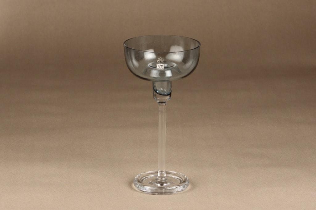 Riihimäen lasi Olympos kynttilänjalka, siniharmaa, kirkas, suunnittelija Nanny Still, 1 - 2- kpl