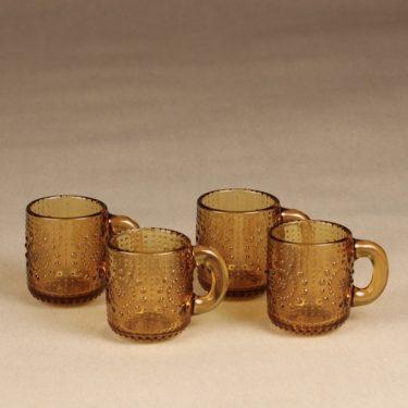 Riihimäen lasi Grapponia kupit, amber, 4 kpl, suunnittelija Nanny Still,