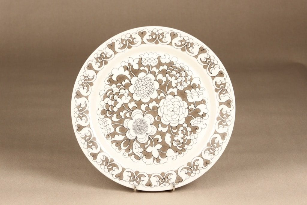 Arabia Gardenia lautanen, matala, suunnittelija Esteri Tomula, matala, serikuva