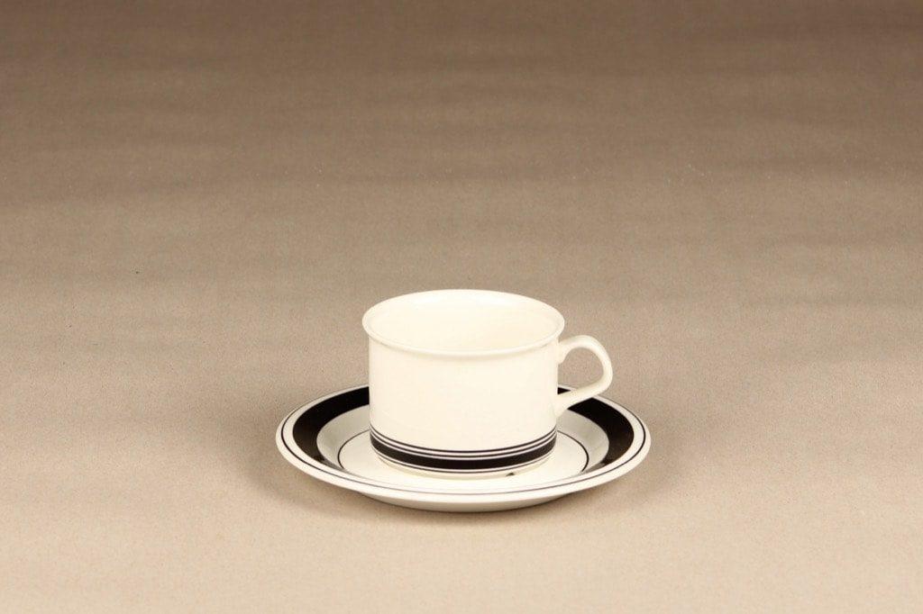 Arabia Faenza teekuppi, raitakoriste, suunnittelija Peter Winquist, raitakoriste, serikuva