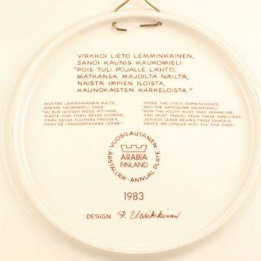 Arabia Kalevala vuosilautanen, 1983, suunnittelija Raija Uosikkinen, 1983, serikuva, Kalevala-aihe kuva 2