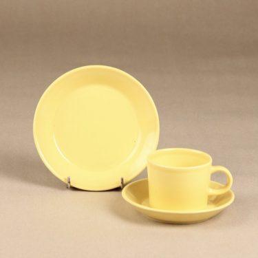 Iittala Teema kahvikuppi lautaset, keltainen, suunnittelija Kaj Franck,