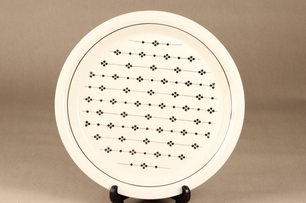 Arabia Kartano platter, black and white, designer Esteri Tomula, printed and painted