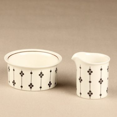 Arabia Kartano sugar bowl and creamer, black and white, designer Esteri Tomula, printed and painted