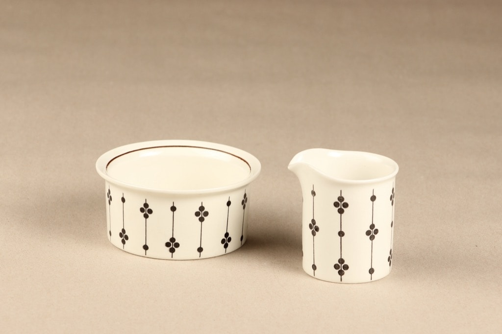 Arabia Kartano sugar bowl and creamer, black and white, designer Esteri Tomula, printed and painted