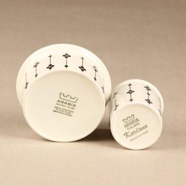 Arabia Kartano sugar bowl and creamer, black and white, designer Esteri Tomula, printed and painted, 2