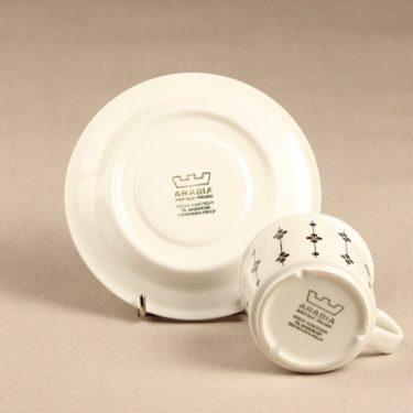 Arabia Kartano kahvikuppi, mustavalkoinen, suunnittelija Esteri Tomula, painettu ja maalattu kuva 2