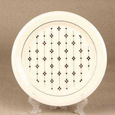 Arabia Kartano lautanen, mustavalkoinen, suunnittelija Esteri Tomula, painettu ja maalattu