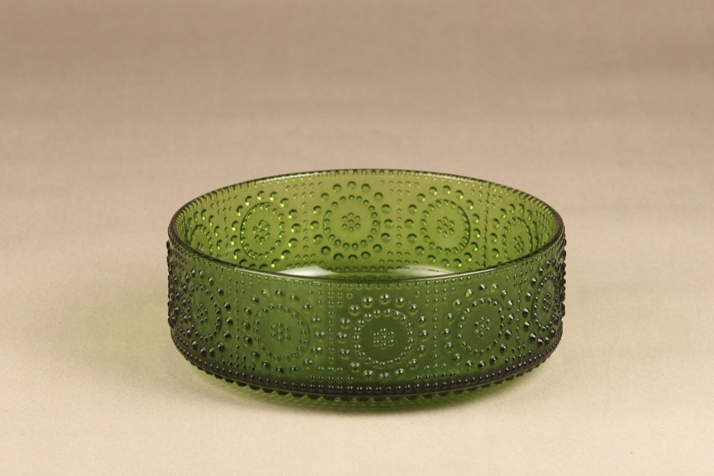 Riihimäen lasi Grapponia kulho, vihreä, suunnittelija Nanny Still,