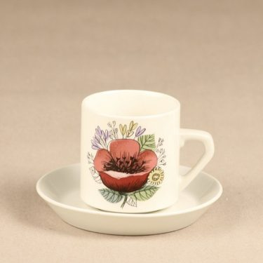 Arabia Valmu coffee cup, 2 pcs, designer Esteri Tomula, silk screening, flower theme