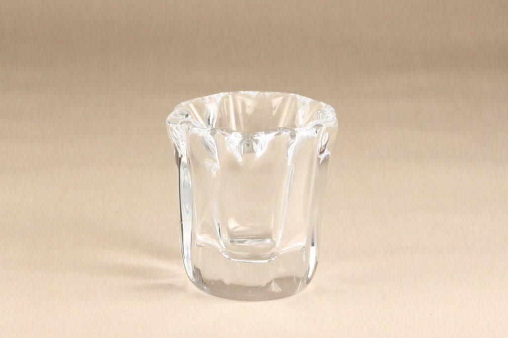 Iittala Kalvolan kanto art glass, clear, designer Tapio Wirkkala, signed