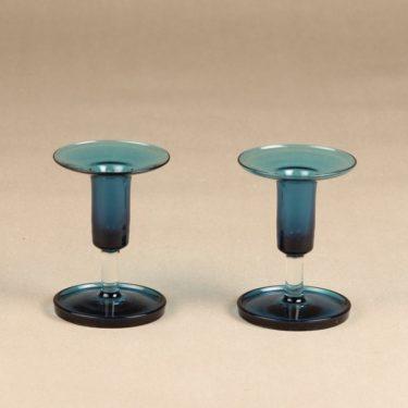 Riihimäen lasi Harlekiini candlesticks, blue, 2 pcs, designer Nanny Still, signed