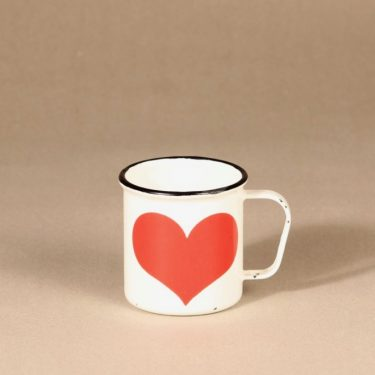 Finel enamel mug, white and red heart