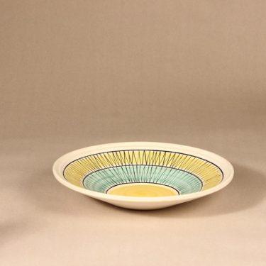 Kupittaan savi tarjoiluvati, keltainen, suunnittelija Okki Laine, käsinmaalattu