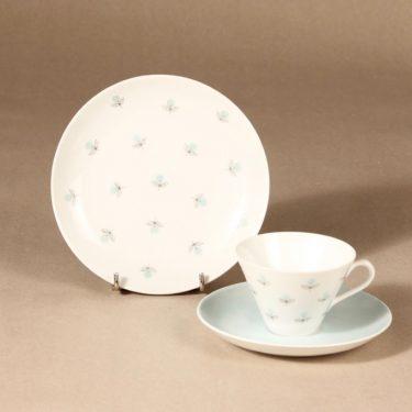 Arabia Monica Kahvikuppi ja lautaset, käsinmaalattu