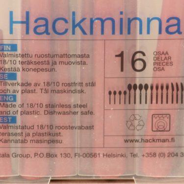 Hackman Hackminna aterimet, punainen, teräs, 16 kpl, suunnittelija Ahti Majuri,  kuva 3