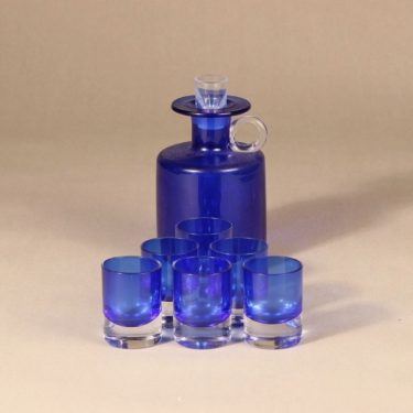 Kumela karahvi+6 lasia, sininen, 7 kpl, suunnittelija Sirkku Kumela-Lehtonen,