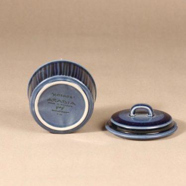 Arabia Kosmos sokerikko kannella, sininen, suunnittelija Gunvor Olin-Grönqvist, käsinmaalattu, signeerattu kuva 2