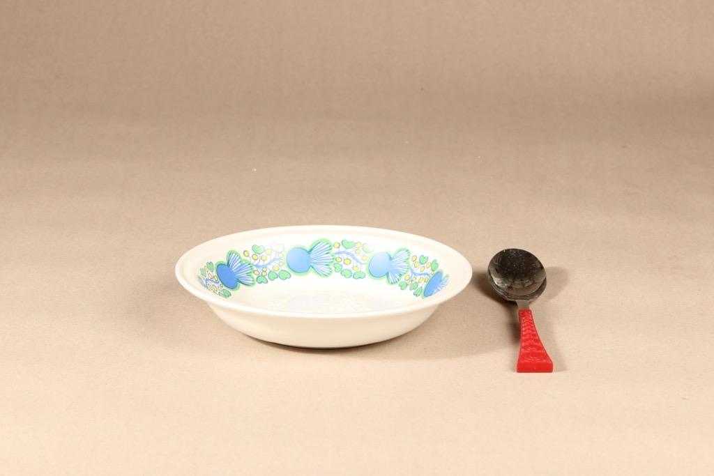 Arabia A lautanen, syvä, suunnittelija , syvä, retro, serikuva, kukka-aihe