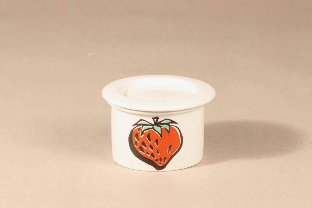Arabia Tutti frutti jar, strawberry, designer Ulla Procope, silk screening, retro