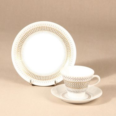 Arabia Kruunu coffee cup, saucer and plate, 15cl, Raija Uosikkinen,