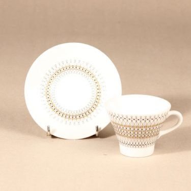 Arabia Kruunu kahvikuppi ja lautaset, 15 cl, 3 kpl, suunnittelija Raija Uosikkinen, 15 cl, serikuva kuva 3