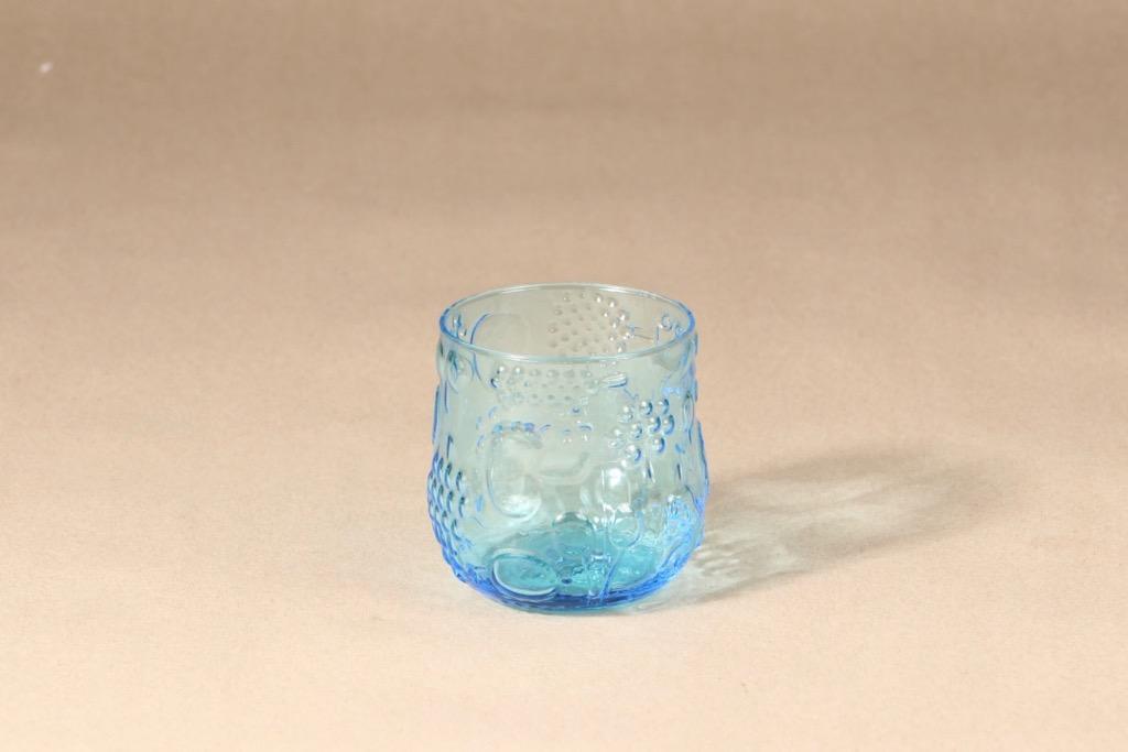 Nuutajärvi Frutta lasi, turkoosi, suunnittelija Oiva Toikka, tilaustyö, retro