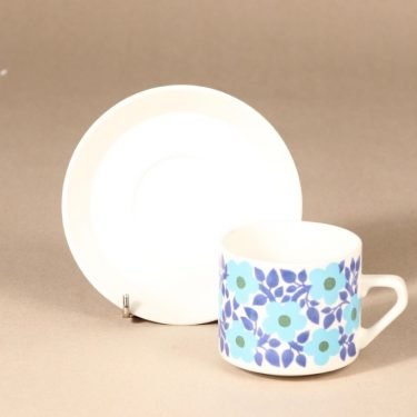 Arabia Ahmet teekuppi, sininen|turkoosi, suunnittelija Raija Uosikkinen, serikuva kuva 2