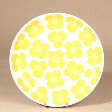 Arabia Aurinko tarjoiluvati, keltainen, suunnittelija Esteri Tomula, serikuva