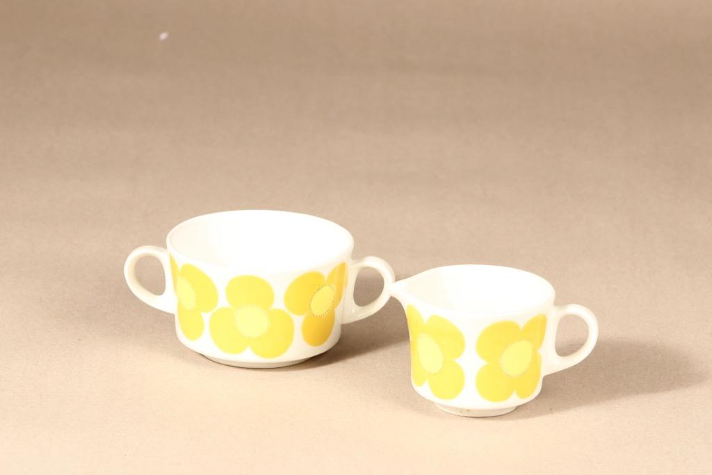 Arabia Aurinko sugar bowl and creamer, yellow, designer Esteri Tomula, silk screening