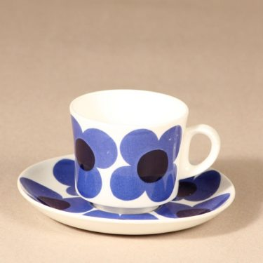 Arabia Aurinko kahvikuppi, sininen, suunnittelija Esteri Tomula, serikuva