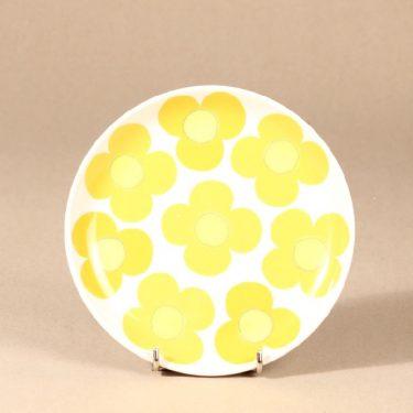 Arabia Aurinko pullalautanen, keltainen, suunnittelija Esteri Tomula, serikuva