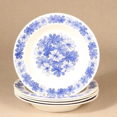 Arabia Sinikukka lautanen, syvä, 5 kpl, suunnittelija Esteri Tomula, syvä, serikuva, kukka-aihe