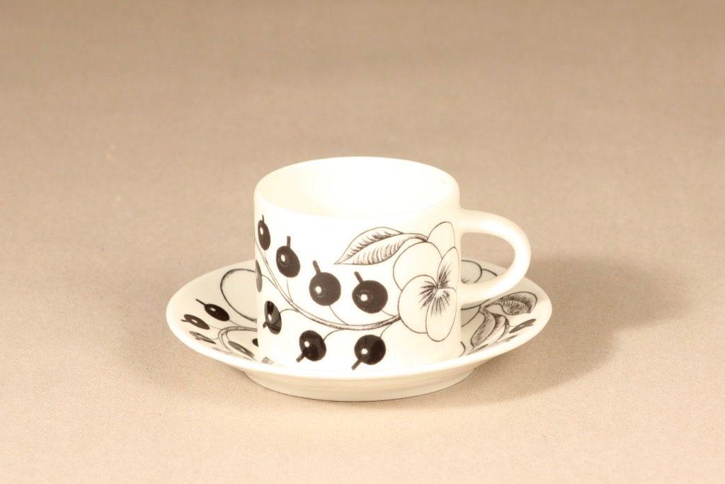 Arabia Paratiisi tea cup, black and white, Birger Kaipiainen