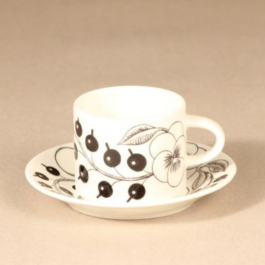 Arabia Paratiisi tea cup, black and white, Birger Kaipiainen