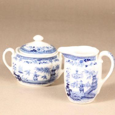 Arabia Singapore sugar bowl and creamer, copper ornament