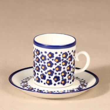 Arabia Virva II mokkakuppi, sininen|kulta, suunnittelija Anja Jaatinen-Winquist, serikuva