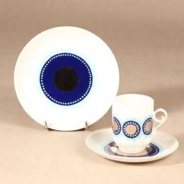 Arabia Tanja coffee cup, saucer and plate, blue, Esteri Tomula