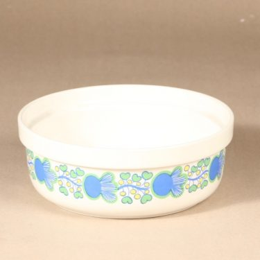 Arabia A bowl, multicolored, designer Laila Hakala, silk screening, flower theme, retro