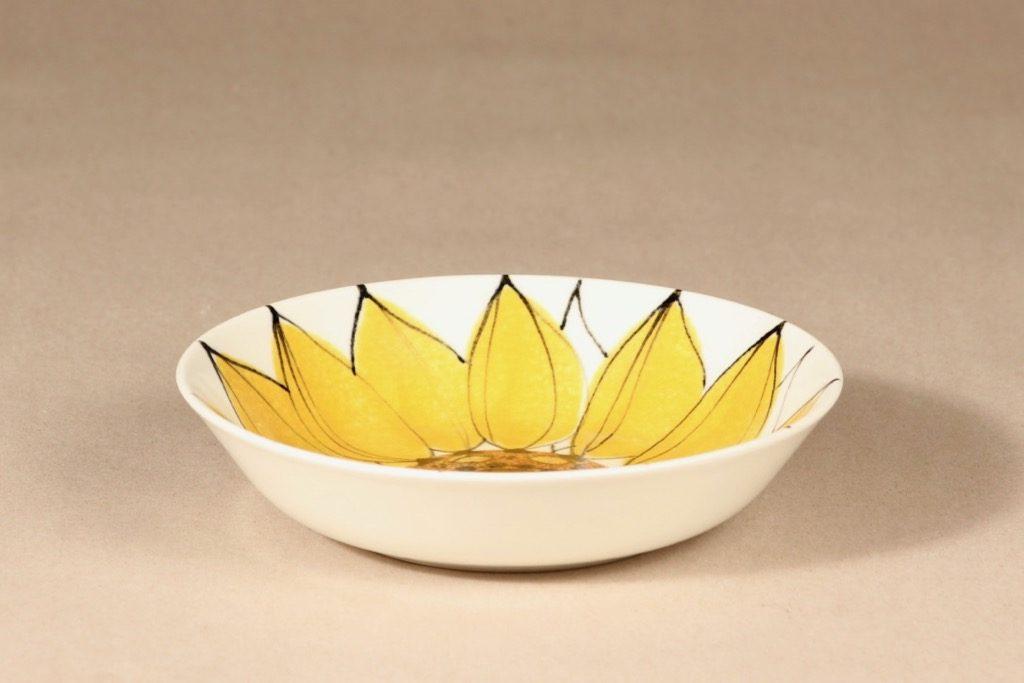Arabia Aurinkoruusu lautanen, syvä, suunnittelija Hilkka-Liisa Ahola, syvä, käsinmaalattu, syvä, signeerattu